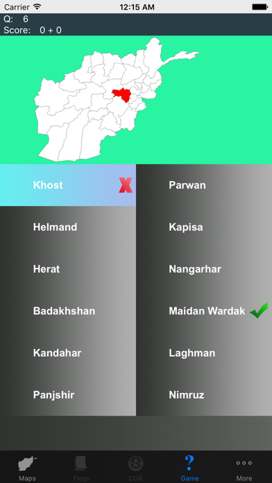 Afghanistan Province Maps and Capitals screenshot two