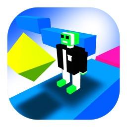 The Pixel Man On Zig Zag Road 3D