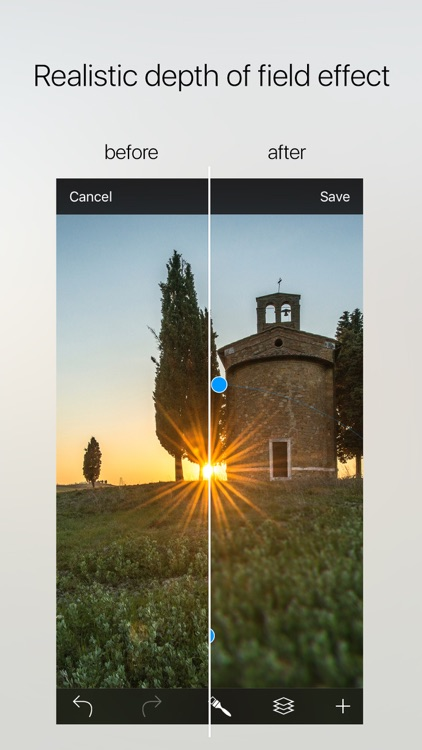 Drop - photorealistic depth of field with bokeh