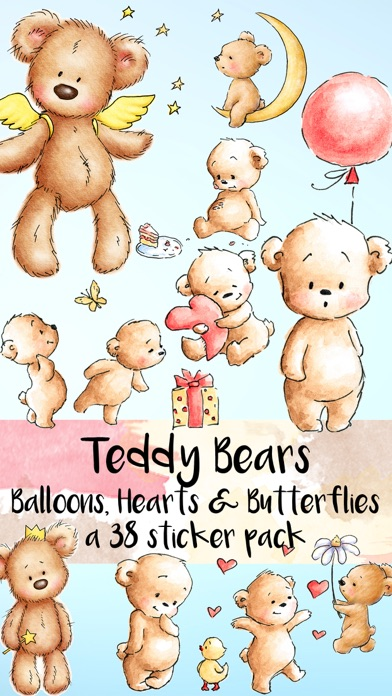 Teddy Bear Balloons Hearts & Butterflies Stickers