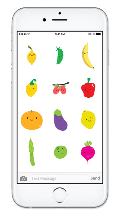 Cute Fruit and Vegetable Fun Food Sticker Pack screenshot-4