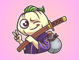 The all-new Fearless Samurai Onion Stickers pack for iMessage is here
