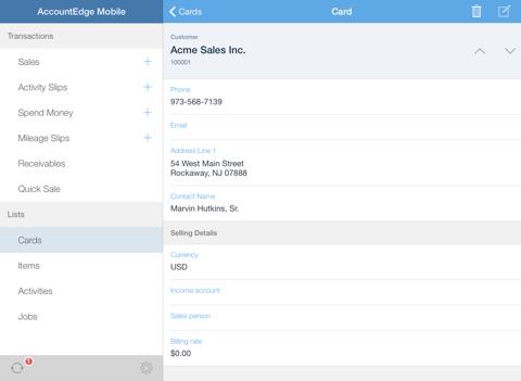 Скриншот из AccountEdge Mobile