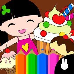 Coloring Dress up: Kids kitchen cake decorating