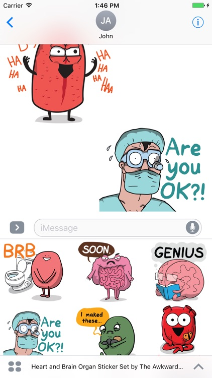 Heart and Brain Organ Sticker Set screenshot-3
