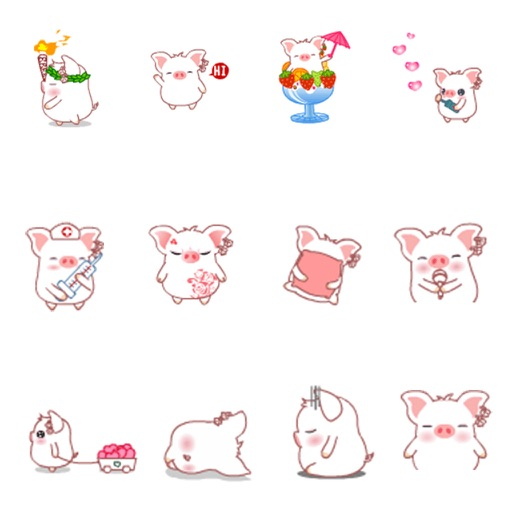 Lovely Piggy Animated Stickers