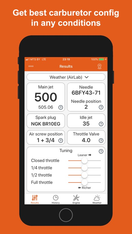 Jetting for KTM 2T Moto screenshot-0