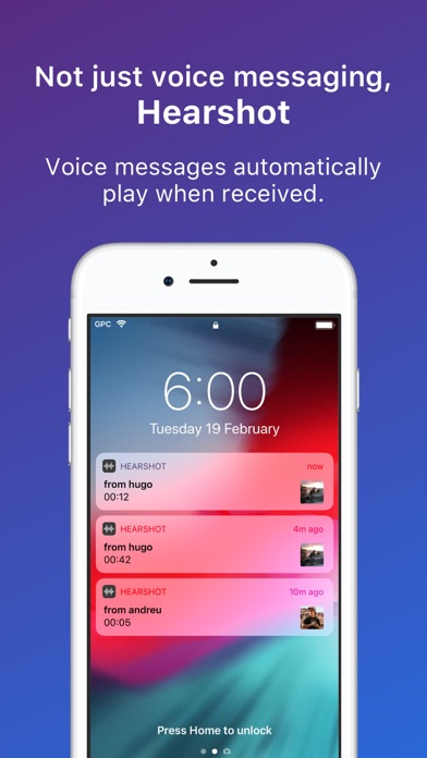Hearshot Voice Messenger Screenshot on iOS