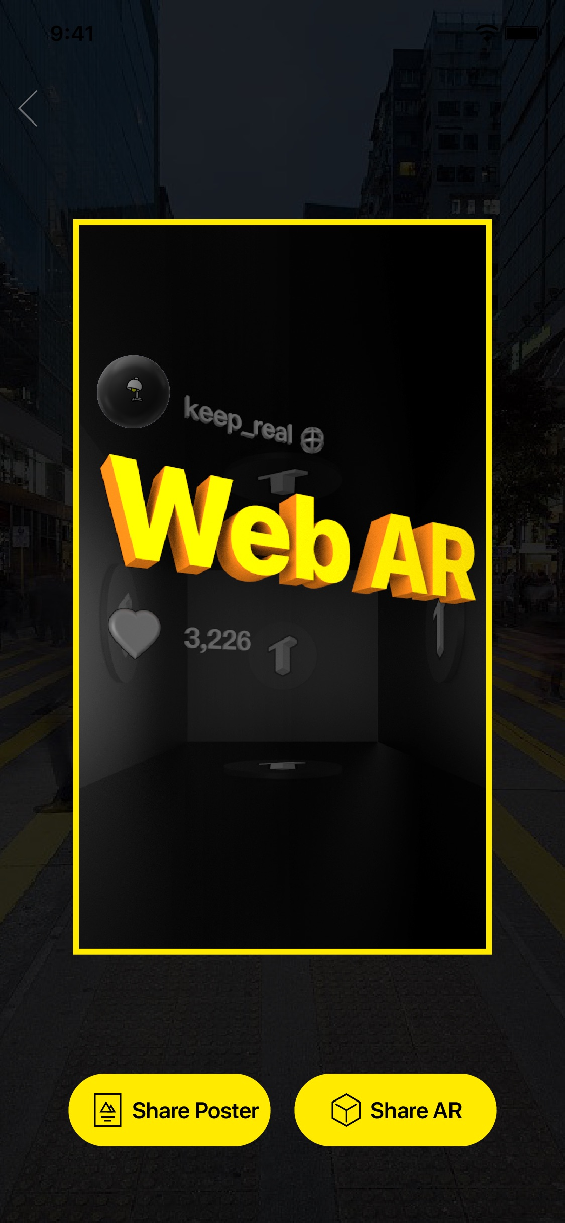 Screenshot do app TextHere – AR posts everywhere