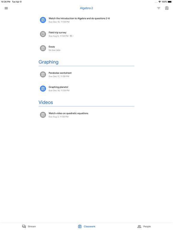 iPad Image of Google Classroom