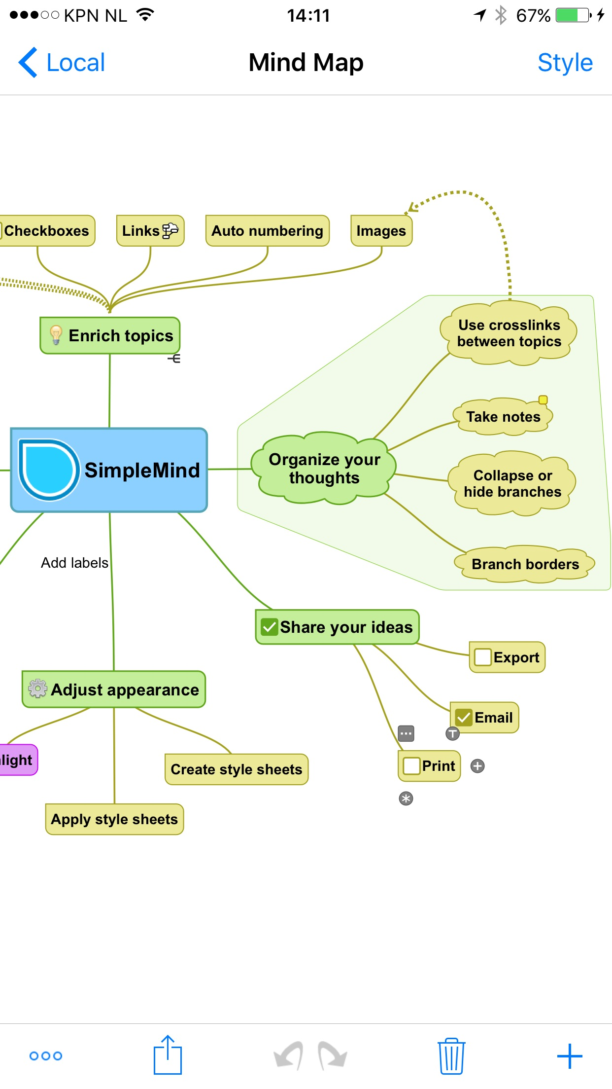 SimpleMind Pro+ Mind Mapping Screenshot