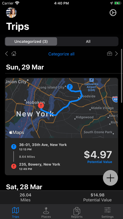 MileWiz 2020 - Car Mileage Log Screenshot