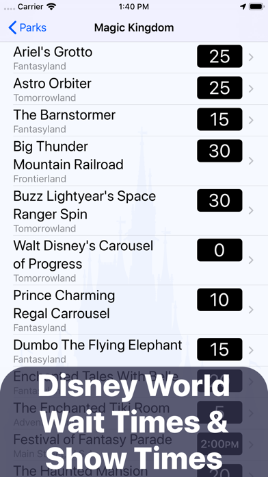Wait Times for Disney World Screenshot