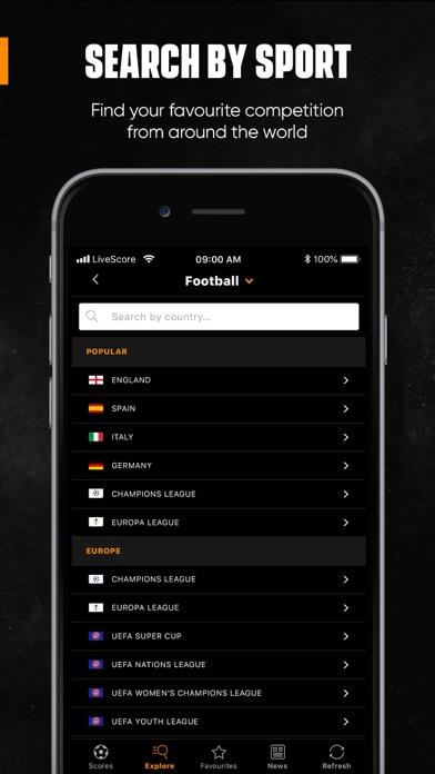 Livescore review screenshots