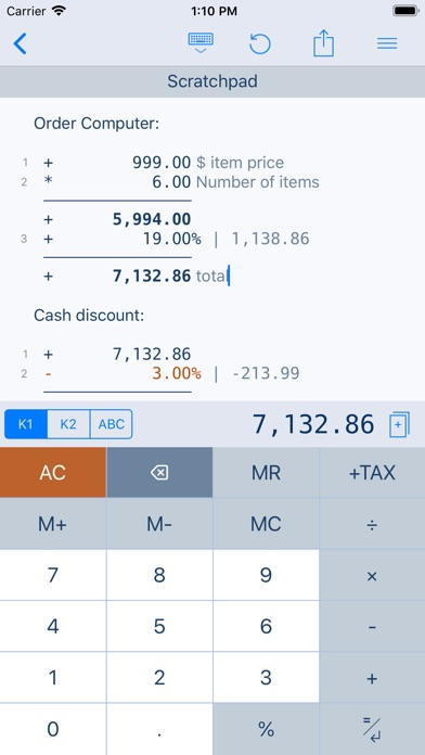 Screenshot for CalcTape Calculatrice et Notes in Lebanon App Store
