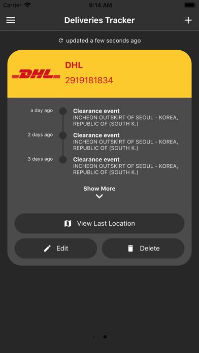 Deliveries Tracker Screenshot