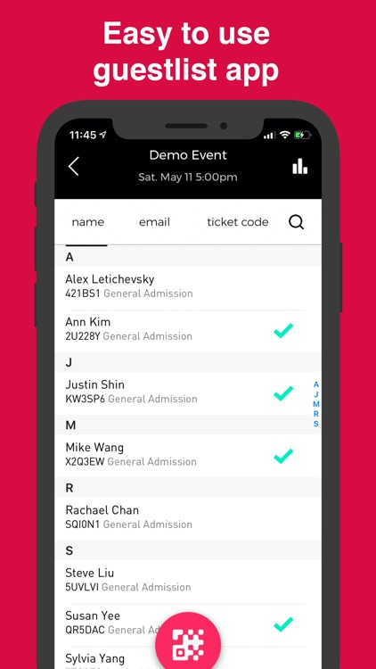 Guestlist Check-in by Sparxo