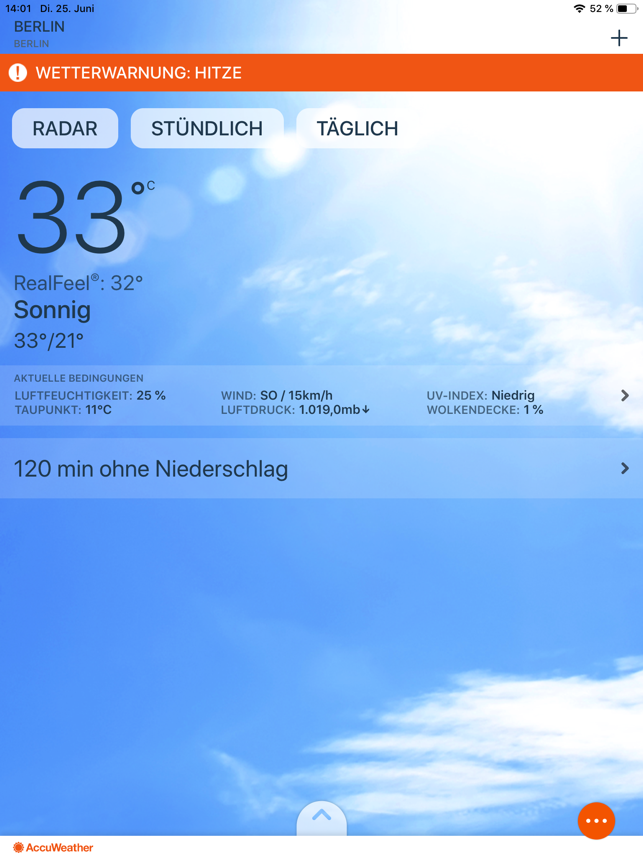 ‎AccuWeather: Wetter Tracker Screenshot