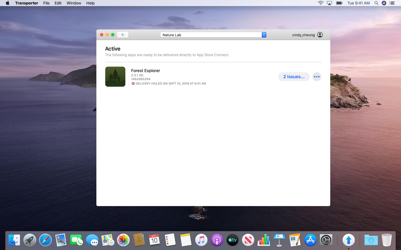 Screenshot do app Transporter