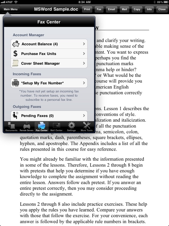 Faxing for iPad