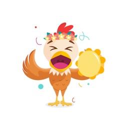 Chicken Smiley Stickers