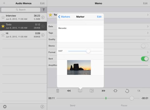 Screenshot of Audio Memos