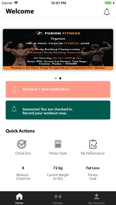 Fusion Fitness App screenshot 1