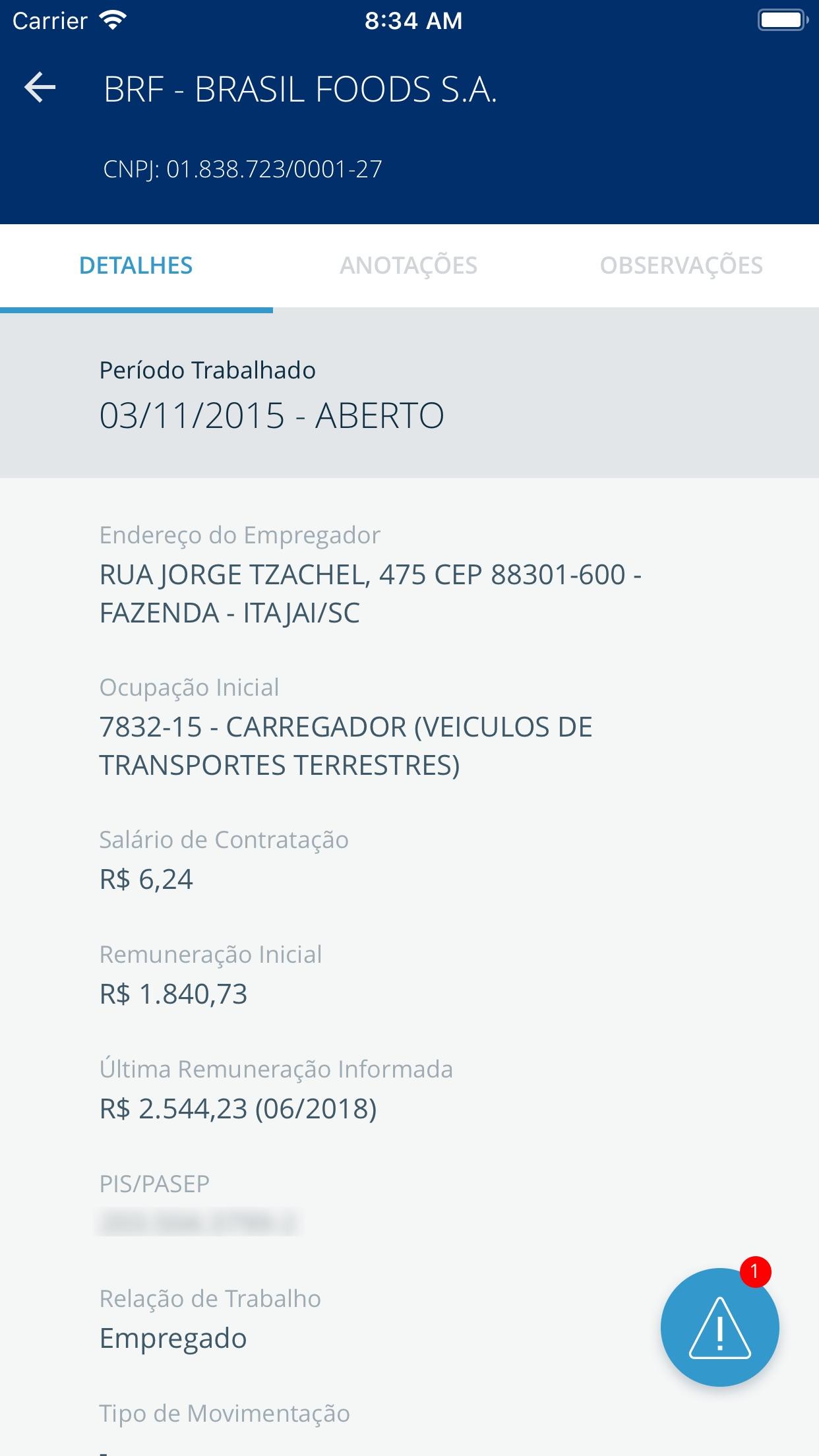 Screenshot do app Carteira de Trabalho Digital