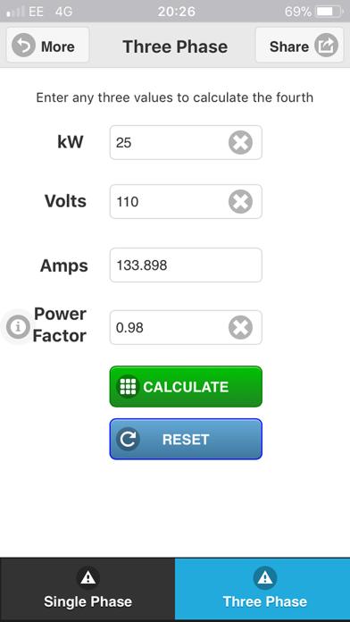 Watts Amps Volts  Calculator-0