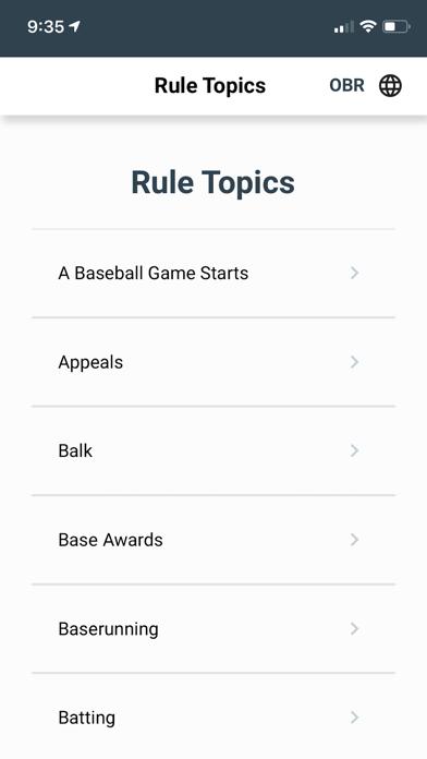 Baseball Rules screenshot