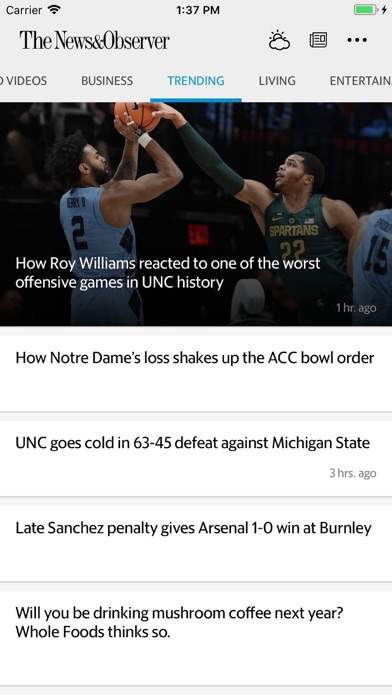 The Raleigh News & Observer Screenshot