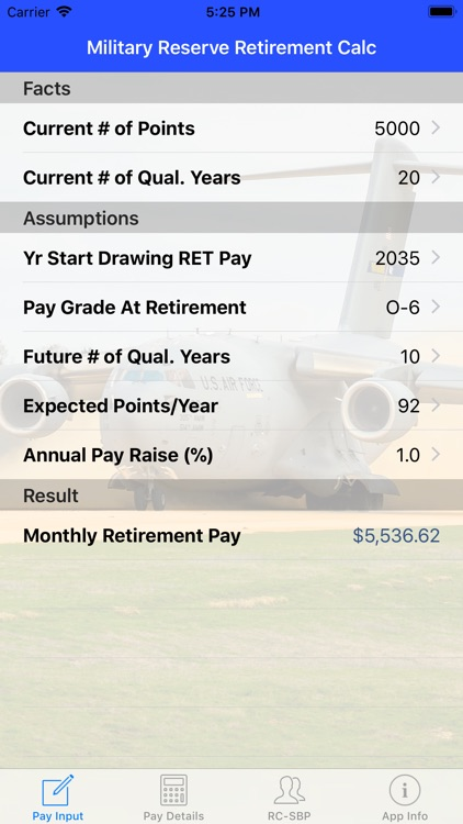 Mil Reserve Retirement Calc