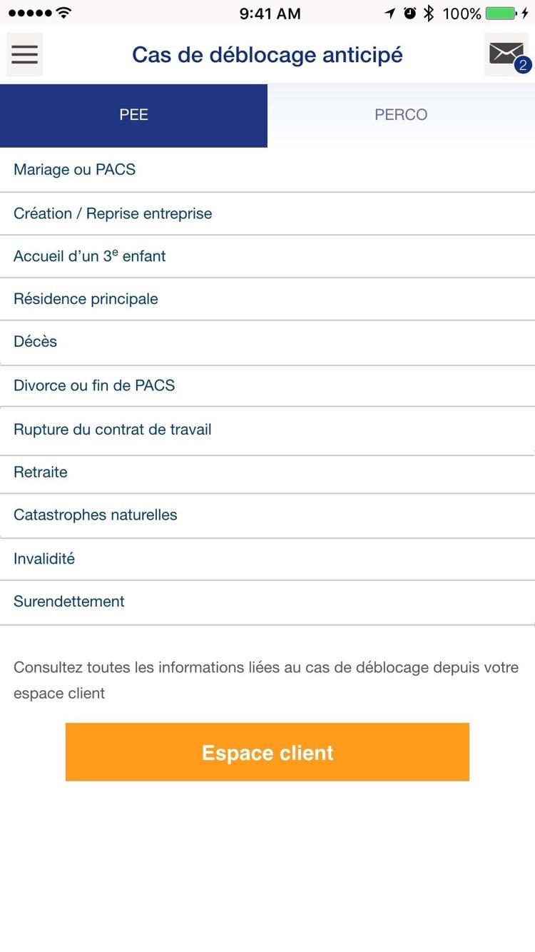AXA Epargne Salariale Screenshot