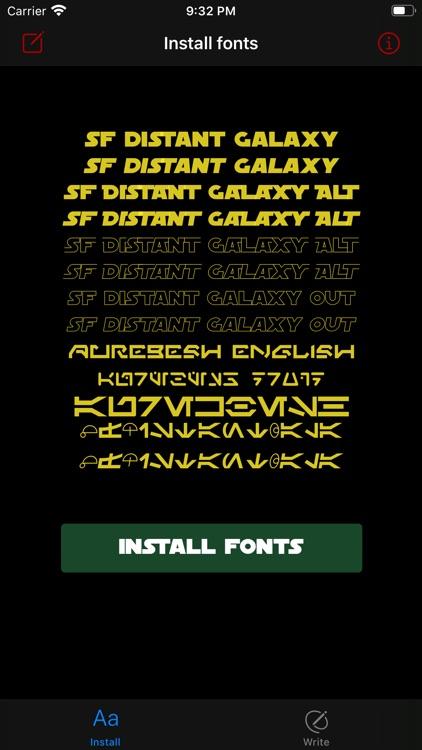 Install & write Star W. fonts