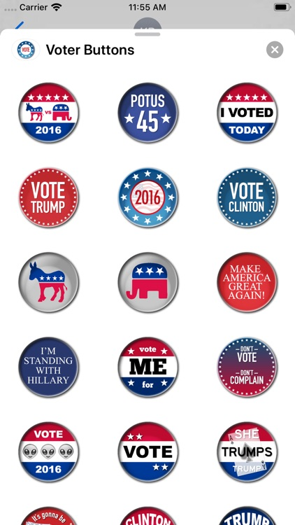 Campaign Election Buttons 2016