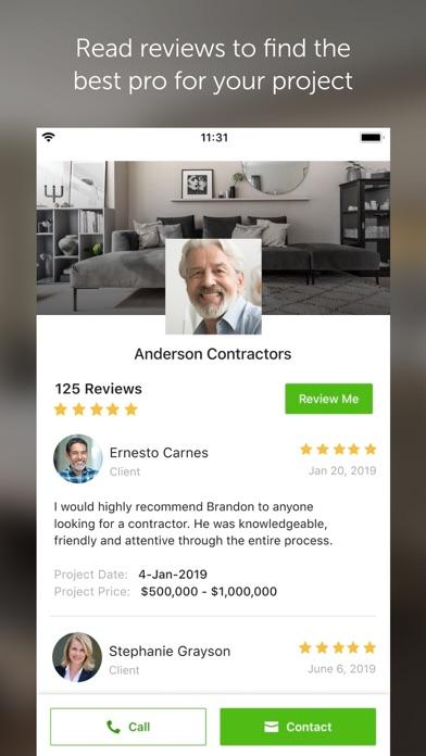 Houzz review screenshots