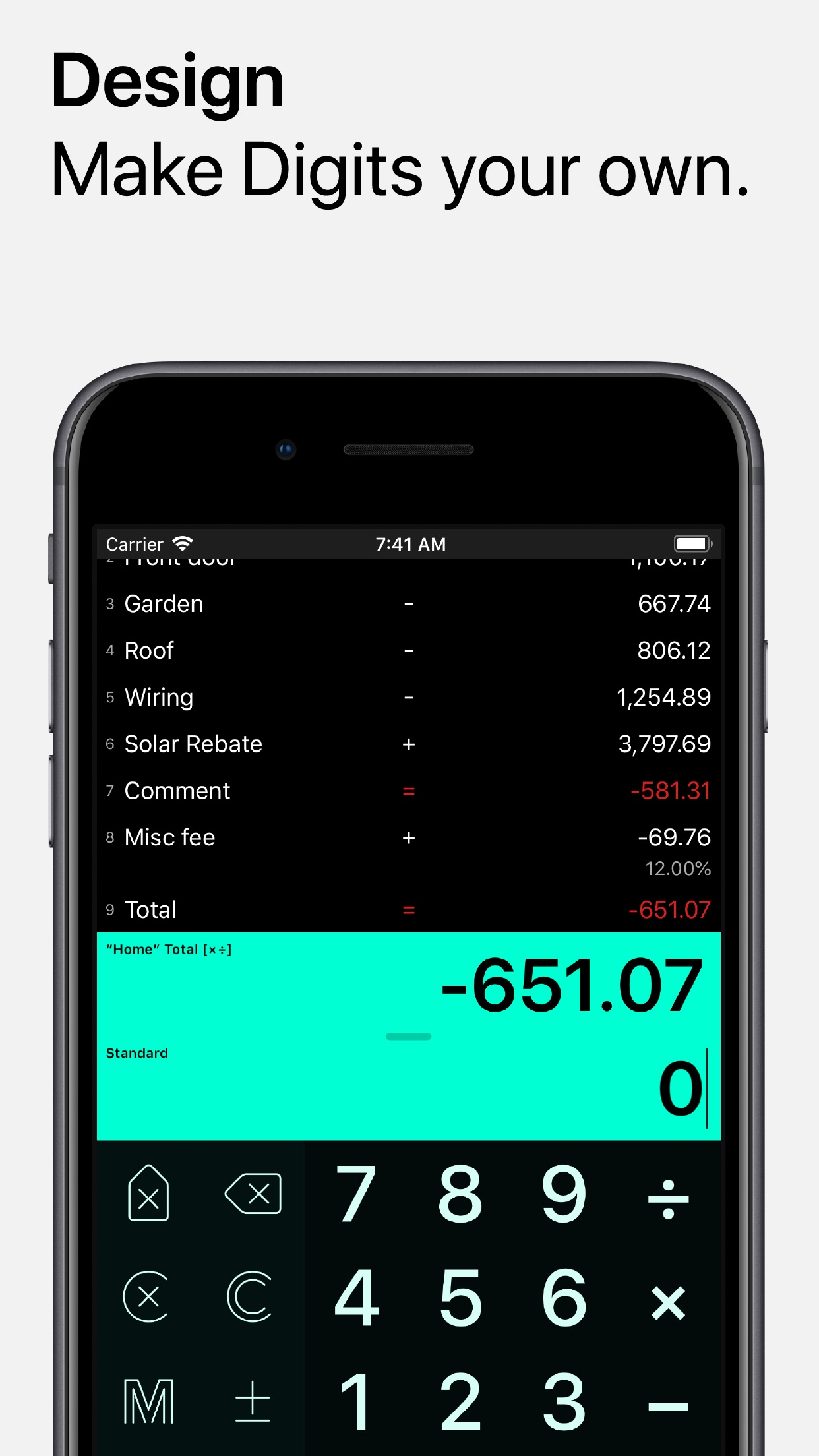 Screenshot do app Digits Tape Calculator