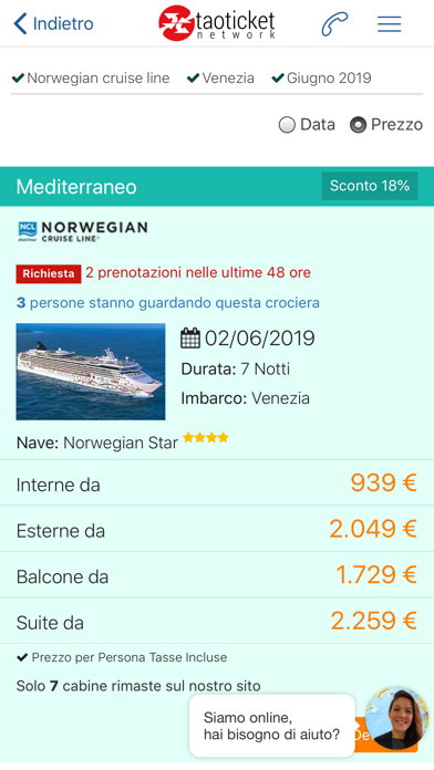 Screenshot of Ticketncl - Crociere2