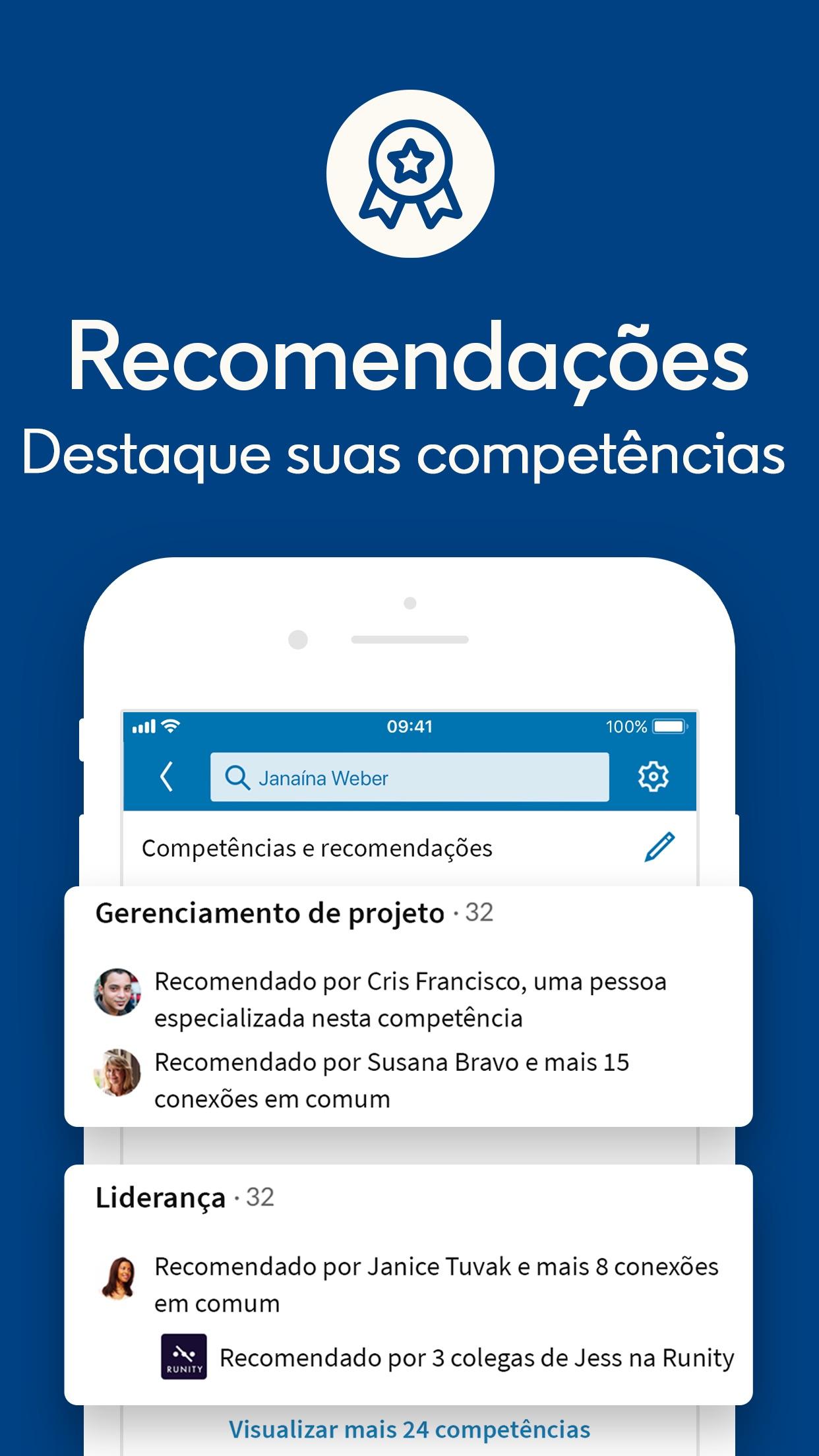 Screenshot do app LinkedIn
