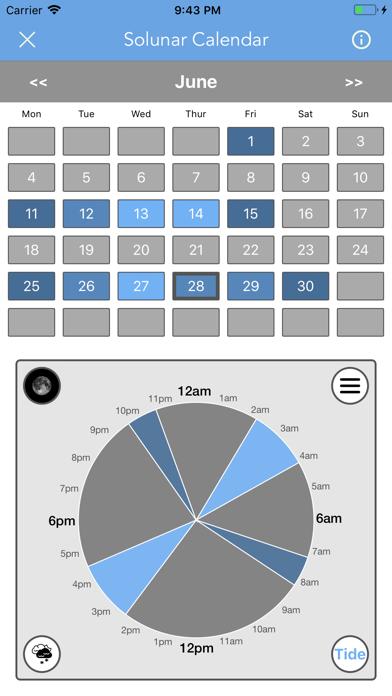 Best Fishing Times Calendar Screenshot