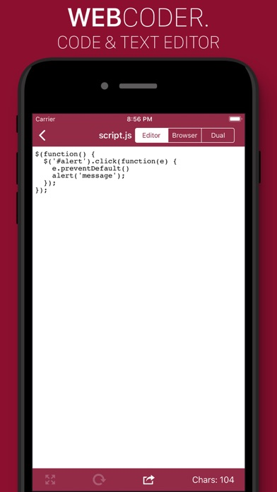 Screenshot of WebCoder - code & text editor App