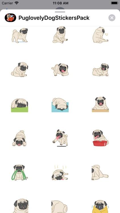 Pug love Dog Stickers Pack screenshot-4