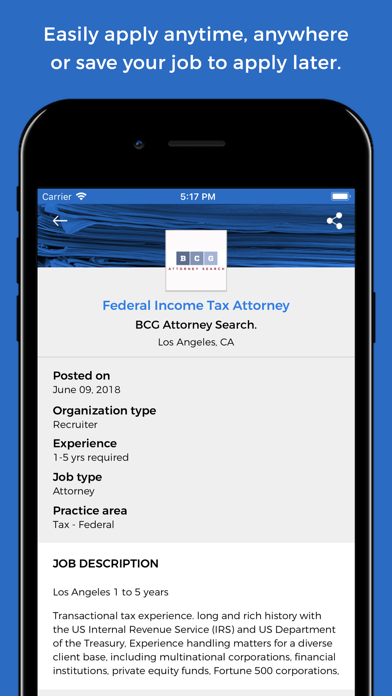 LawCrossing Legal Job Search Screenshot