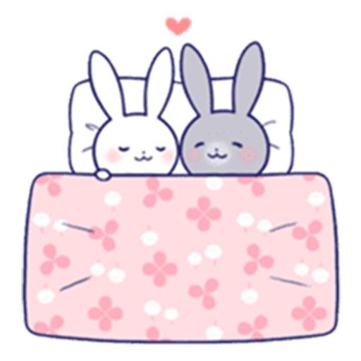 Animated Cute Rabbit Couple