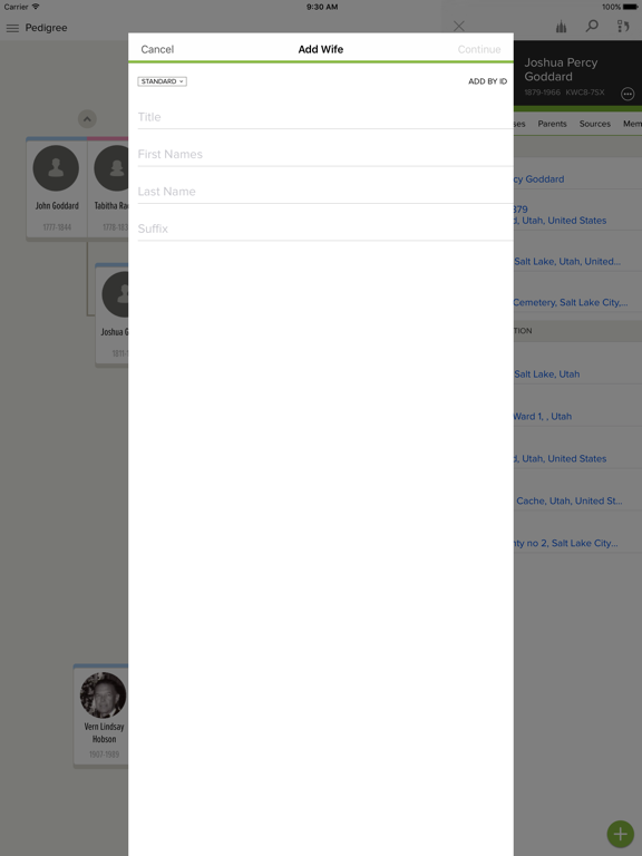 iPad Image of FamilySearch Tree