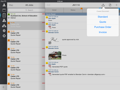 GeoOp Job Management for iPad - náhled
