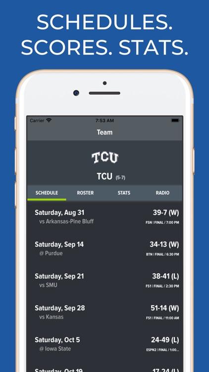 TCU Football Schedules