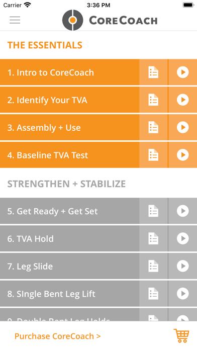 CoreCoach TVA trainer screenshot one