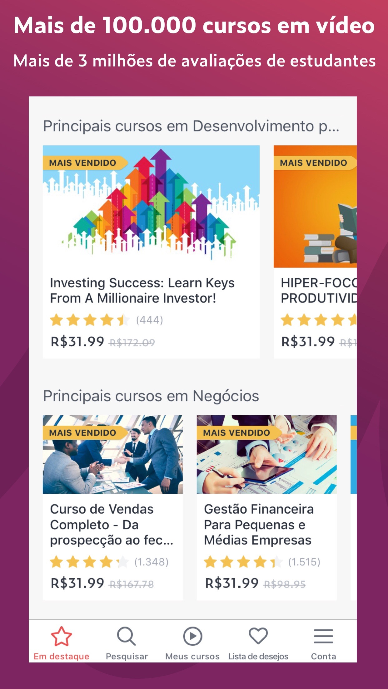 Screenshot do app Udemy: Aprender Cursos Online