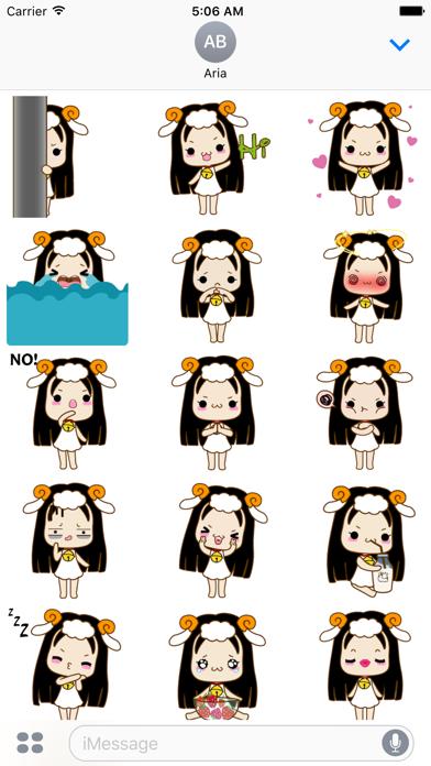 Animated Cute Aries Girl Emoji screenshot 2